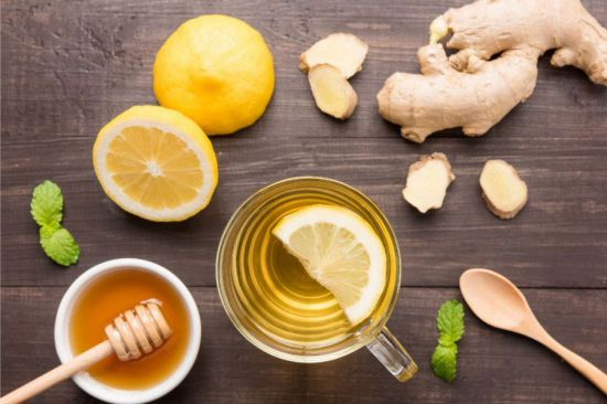 Имбирь, лимон, мед, мята