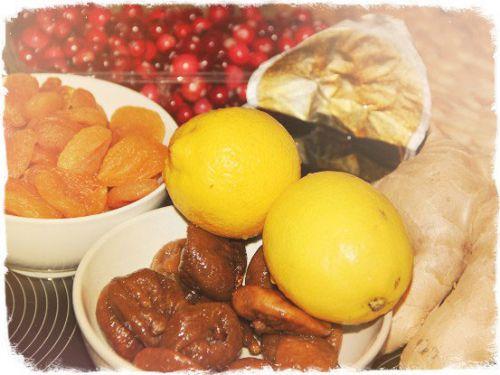 Сухофрукты, ягоды, фрукты, имбирь