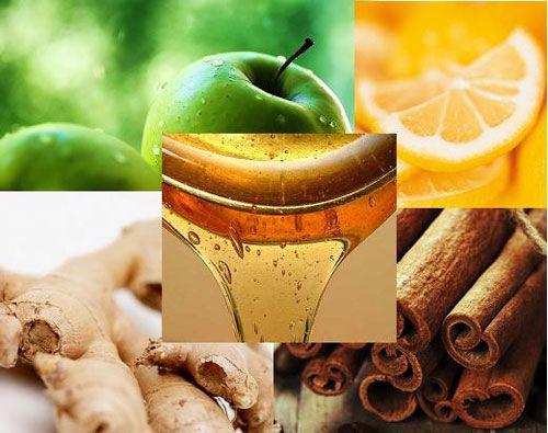 Яблоко, апельсин, мед, имбирь, корица