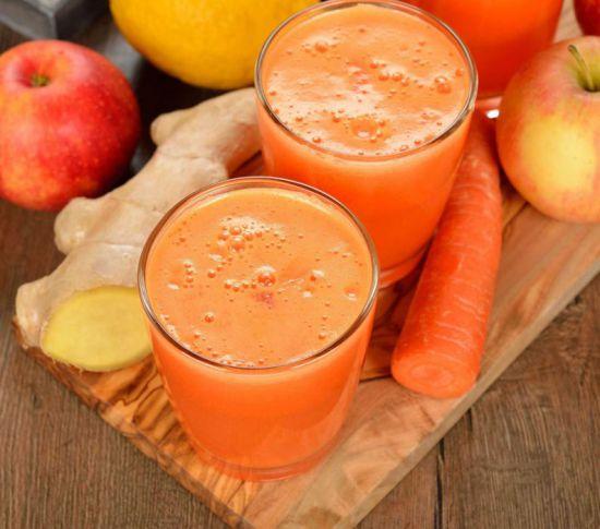Сок их моркови и имбиря