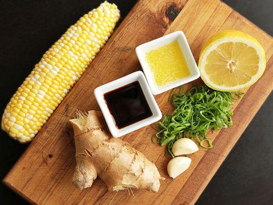 Имбирь, лимон, кукуруза