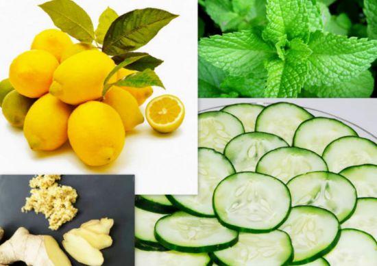 Имбирь, лимон, мята, огурец