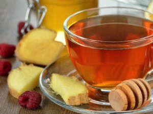 Чай с имбирем и малиной